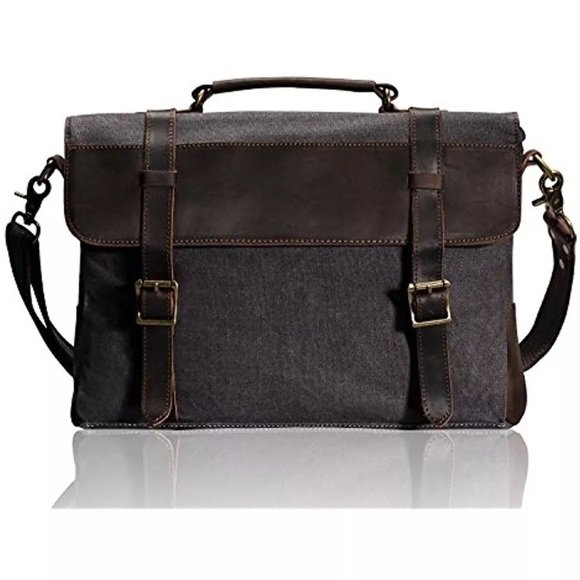 estarer  ESTARER Bags | Shoulder Canvas Leather Laptop Bag 156 In | Poshmark